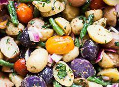 Red, White and Blue Potato Salad: potatoes, red onion, green beans, apple cider vinegar, olive oil, whole grain mustard, honey, cherry tomato, parsley, chives, cracked pepper/salt