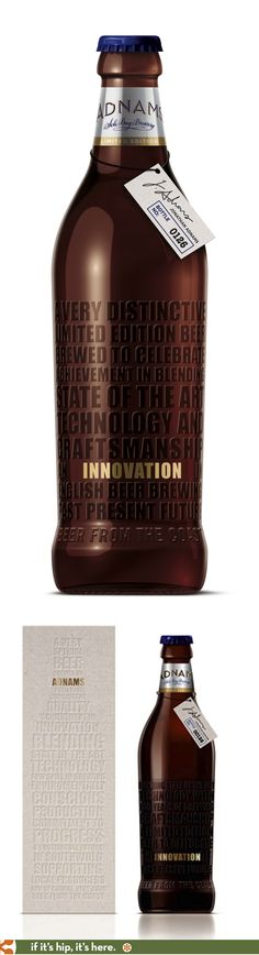 Adnams Innovation Beer bottle and box.