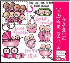 Lori's twins bundle pink by melonheadzdoodles on Etsy