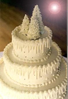 Winter Wedding Cake~ Ice cream cones covered in royal icing (recipe for royal icing) are what I used to make the topper for this simple wedding cake. The icicles on the sides are piped buttercream frosting with silver dragees added for a little extra sparkle.