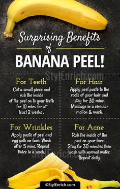 Banana Peel Uses and Benefits for Skin, Hair and Teeth! We all know that bananas carry loads of vitamin & other nutrients. It works so many wonders on your skin, hair & teeth. Go ahead & try the banana peel uses. Beauty Tips For Glowing Skin, Health And Beauty Tips, Natural Beauty Tips, Natural Skin Care, Health Tips, Natural Face Masks, Natural Facial, Natural Hair Growth, Beauty Skin