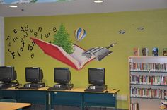mural idea - have characters coming out of the book School Library Decor, School Library Displays, Library Wall, Library Design, School Entrance, School Hallways, School Murals, Art School, Mural Painting