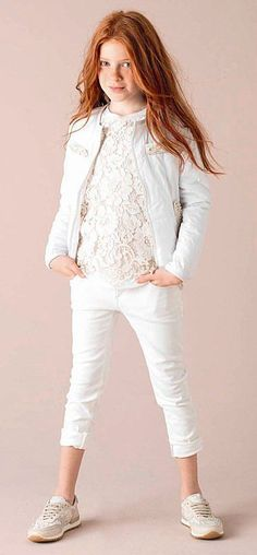 Kid's Wear - Tween Girls clothing White, lace and biker jacket