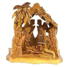 Handmade Two Angels Olive Wood Nativity. The grain of the olive wood is just beautiful! I leave mine out all year. Nativity Clipart, Nativity Crafts, Toddler Crafts, Preschool Crafts, Nativity Scene Pictures, Nativity Sets For Sale, La Sainte Bible, Nativity Church, Nativity Silhouette
