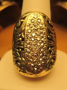 Vintage Retro Mens Ring Large Gold Plate Marcasite Ornate Filigree 9