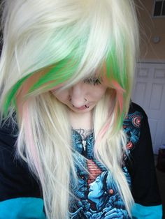 platinum blonde and green pink mix wig emo girl scene punk gothic raver ombre