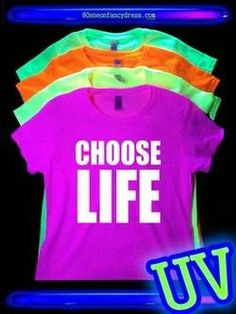 CHOOSE LIFE Ladies Vest 8-16 White 80s 80/'s Party Fancy Dress Costume Outfit