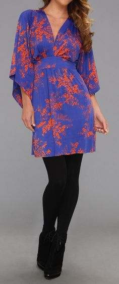 6PM  Deep V-Neck Kimono Sleeve Mini Dress w/ Tie Waist