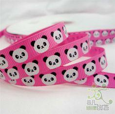 Cute panda bear grosgrain ribbon.
