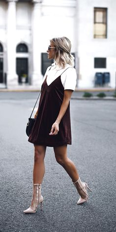 Womens fashion   fall   style   fashion   outfit   chic   velvet   slip   dress   booties   street style   hair   Instagram: @joandkemp