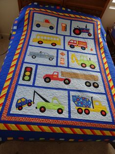 Cooper's Truck Quilt August-December 2013 I made the pattern up myself, so there isn't a pattern available. Quilt Baby, Baby Quilts Easy, Baby Boy Quilt Patterns, Applique Quilt Patterns, Quilting Projects, Quilting Designs, Machine Embroidery Designs, Patchwork Blanket, Toddler Quilt