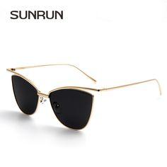 64d3082e2c5e SUNRUN New Fashion Cat Eye Women Sunglasses Brand Designer Glasses Women  Vintage Sun glasses Mirror oculos gafas de sol 9068-in Sunglasses from  Women s ...