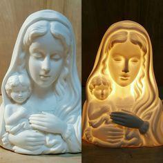 "Vintage 6"" VIRGIN MARY Table NIGHT LIGHT ~ Oxidized PORCELAIN Madonna Bust #Porcelain #NightLight #VirginMary"