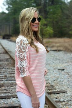 Lace detailed sweater, so cute!