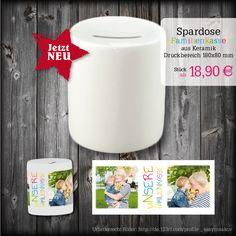 """Spardose aus Keramik mit Gummistopfen mit persönlichen Fotos der Familie bedruckt. Text :""""UNSERE FAMILIENKASSE"""""""