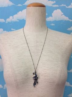Cutlery Gems, Roses and Pearls Necklace in Antique Silver - Lolita Desu