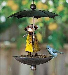 Handcrafted Metal Brolly Rain Girl Birdfeeder
