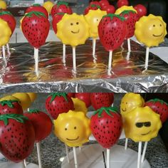 Sun and Strawberry Cake Pops to welcome the summer and end of school.