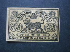 OLD JAPANESE DOG MATCHBOX LABEL. | eBay