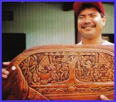 """Palauan """"master carver""""  finished with black & brown shoe polish"""