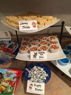 Paw Patrol - Chewy Treats (rice Krispy bars), Kibbles & Bits (Reese's cereal), Puppy Kisses (Hershey's kisses)