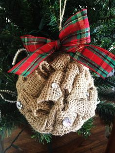Burlap Ornament with Rhinestones. Cute Holiday Decoration for your Home and Christmas Tree! Adorable Christmas Plaid ribbon tied at the top Burlap Christmas Ornaments, Noel Christmas, Primitive Christmas, Homemade Christmas, Rustic Christmas, Winter Christmas, Christmas Decorations, Burlap Crafts, Christmas Projects