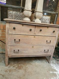 it down and simply waxed it with white wax for a natural wood look! Furniture Repair, Furniture Projects, Furniture Making, Furniture Makeover, Furniture Decor, Natural Wood Dresser, Solid Wood Dresser, Refurbished Furniture, Upcycled Furniture