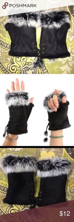 Rabbit Fur Leather Lady Fingerless Suede Gloves Faux Rabbit Fur Leather Lady Fingerless Suede Wrist Gloves 100% Brand New and High Quality Size: One Size 15cm(Length),10cm(Width) Material: Faux Rabbit Fur + Imitation Leather Beautiful😊 Liva Girl Accessories Gloves & Mittens