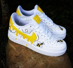 """Custom Honeybee Nike Air Force 1 Beautiful custom Honeybee Nike Air Force Bright yellow on white leather classic Nikes. Honeybees all over each shoe, says """"Bee Happy"""" on back heel. Dr Shoes, Cute Nike Shoes, Cute Nikes, Hype Shoes, Vans Shoes, Nike Custom Shoes, Shoes Sneakers, Custom Made Shoes, Yeezy Shoes"""