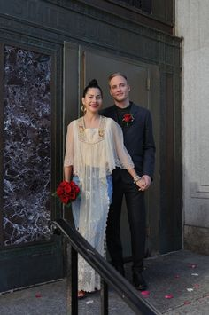 Find out why this Brooklyn bride forwent a gown for vintage jeans and a lovely top on her big day.