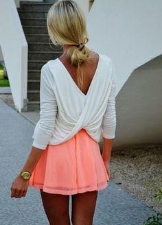 Shirt rosa Rock weiße Bluse Twist weiches Kleid weißes Hemd offenen Rücken Kleid oben Sommerwickelshirt Neon Rock Korallen weißen Kleid rosa Kleid kurzes Kleid Sommer