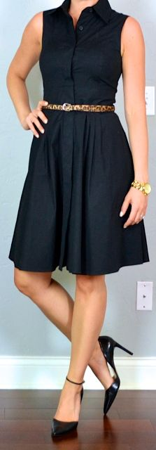 outfit post: black shirt dress, pointed toe black pumps - Outfit Posts