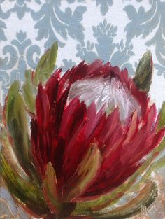 daily painting by Heidi Shedlock Protea Art, Protea Flower, Plant Illustration, Abstract Flowers, Painting Inspiration, Creative Art, New Art, Flower Art, Art Drawings