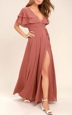The birds will sing your praises when you glide by in the Wonderful Day Rusty Rose Wrap Maxi Dress! Sheer Georgette forms ruffled sleeves, and wrapping bodice. Maxi Wrap Dress, Maxi Dress With Sleeves, Boho Dress, Pink Dress, Pink Maxi, Day Dresses, Summer Dresses, Formal Dresses, Winter Dresses