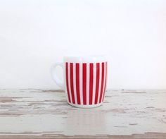 Vintage Candy Stripe Red and White Glass Cup by CozyHomeVintage, $9.00