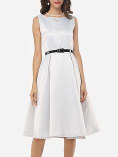 Plain Captivating Round Neck Skater-dress