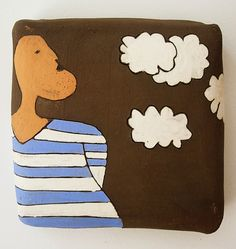 """""""cloud in me""""  ceramic tile  www.margaritesArt.com"""