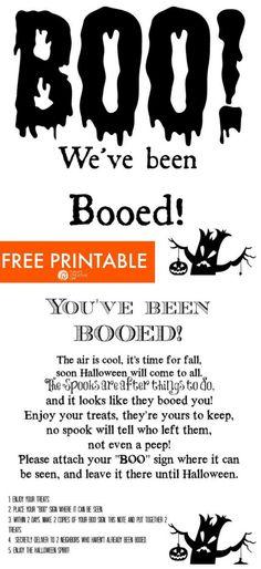 Youve been Booed Printable Youve been Booed! Halloween Poems, Fairy Halloween Costumes, Halloween Traditions, Scary Halloween Decorations, Halloween Crafts For Kids, Halloween Signs, Halloween Boo, Halloween Activities, Halloween Projects