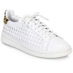 Loeffler Randall Zora Perforated Leather & Printed Calf Hair Sneakers ($207) ❤ liked on Polyvore featuring shoes, sneakers, apparel & accessories, white, white trainers, lacing sneakers, leather shoes, perforated leather sneakers and white sneakers