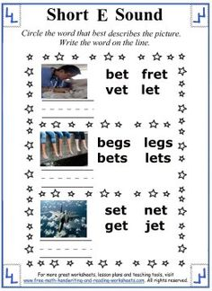 Short E Worksheets and Activities - Circle the word that best describes the picture.  Write the word.