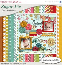 40 Off SALE Sugar Pie Digital Scrapbook Kit w by DigiScrapDelights,