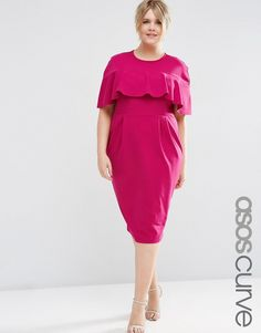 8cd414d57fe2 Image 1 of ASOS CURVE Wiggle Dress with Frill Sleeve Plus Size Womens  Clothing