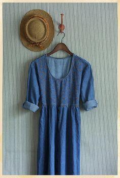 The Hailey Denim Embroidered Vintage Dress