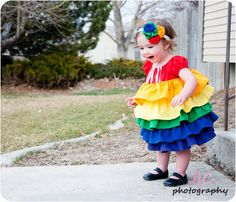 A rainbow ruffle dress for the baby