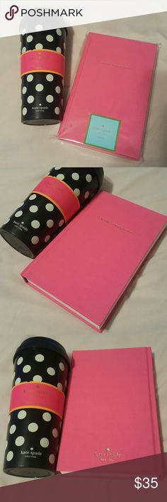 """Kate Spade - Eat Cake for Breakfast Journal & Cup NEW Kate Spade Bundle with tags in original  packaging which includes:  1. Pink hardcover Journal """"Ear Cake for Breakfast"""" written in gold text on cover with lined paper. 2. Also, included New Kate Spade hard plastic 16 oz travel coffee cup, black and white polka dot with cover that allows open and close feature to prevent spills. kate spade Accessories"""