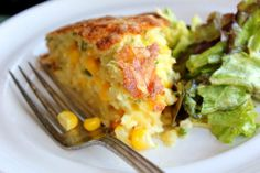 Sweet Corn Cheddar Spoonbread - It's like a cheese souffle meets cornbread meets quiche. Quick, easy and delicious!