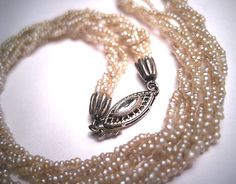 Rare Antique Victorian Natural Seed Pearl Diamond Necklace Choker c.1900.  Antique vintage, wedding bridal, diamond necklace, estate necklace, gift idea, fine jewelry, victorian edwardian, diamond clasp.  Purchase at Aawsomblei Antique Jewelry.