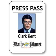 This listing is for a CLARK KENT name badge tag Halloween Costume Prop. THIS BADGE IS FOR SUPERMAN CLARK KENT DAILY PLANET PRESS PASS. Your badge will arrive with a MAGNETIC fastener on the back. This badge is A RECTANGLE SHAPE WITH A WHITE BACKGROUND AND MEASURES APPROX. 2 x 3. This badge is printed in full color with a clear overlay that protects the print for a durable long lasting badge. Your badge WILL SHIP WITHIN 2 DAYS. No hidden charges or set up fees.