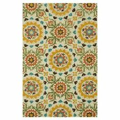 Love the colors and pattern... Pool house? Bring a pop of exotic flair to your living room or master suite with this artful wool rug, showcasing an oversized medallion motif in vibrant hues.