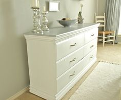 Pure White on the dresser, Grey on the top. I should do this to my old dresser. It would go perfectly in our room